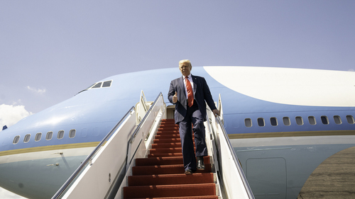 Flight of fancy: President Trump told reporters on board Air Force One about his plans to ban TikTok and other Chinese platforms in the US. (Source: White House)