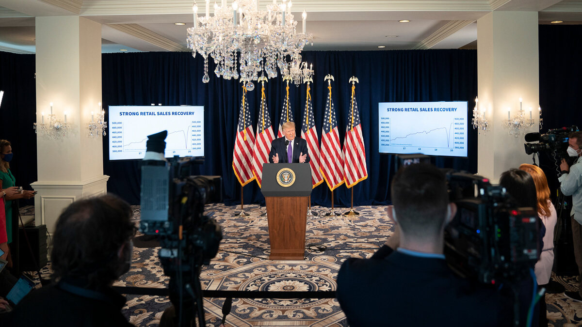 Roving eye: President Trump made it clear he is looking beyond TikTok and Huawei speaking at a press conference in Bedminster, New Jersey.