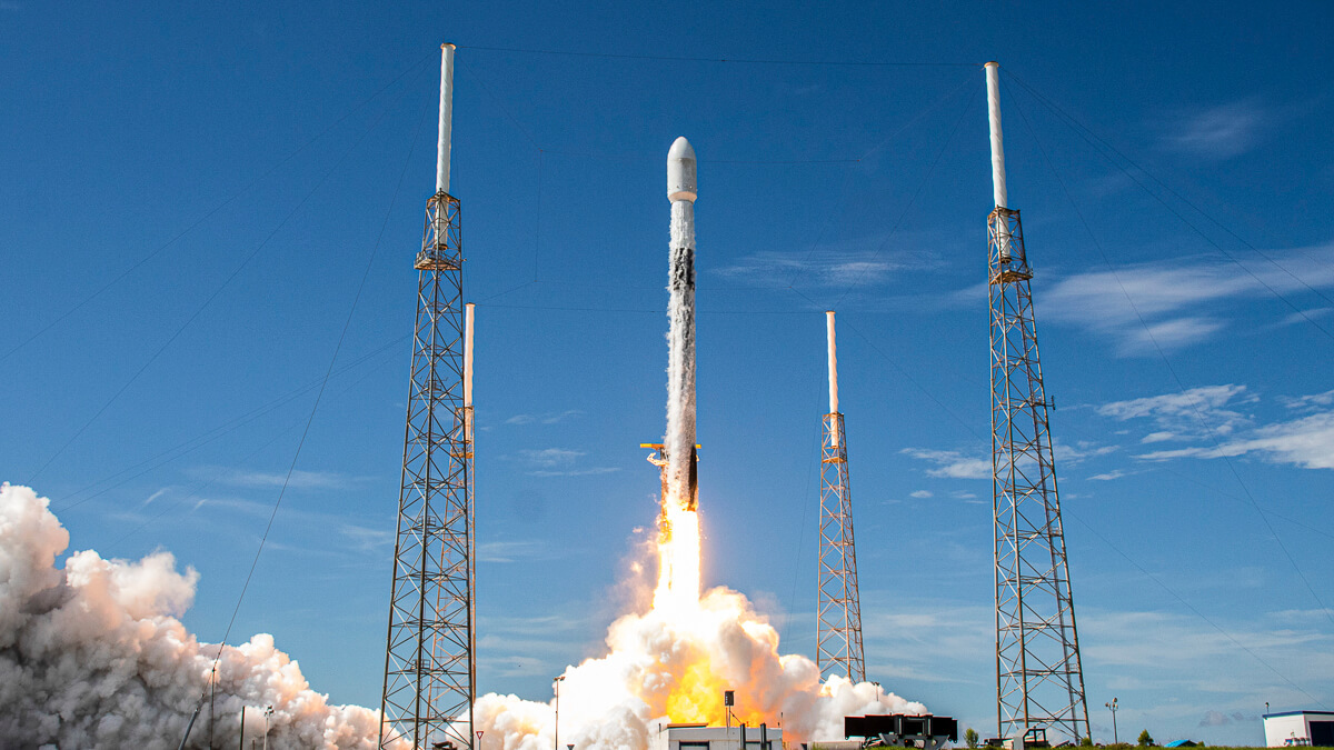 Rocket man: SpaceX Falcon 9 takes off from Cape Canaveral in Florida, carrying 58 Starlink satellites, and three Planet SkySat satellites.  (Source: Space X on Flickr)