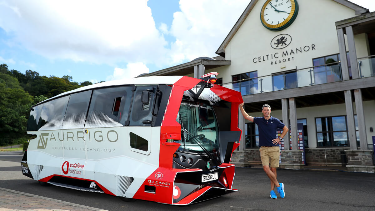 Golf drive: Golfers will hit the first tee in style – and socially distanced &ndash in this fully autonomous vehicle running on Vodafone 4G.  (Source: Vodafone UK)