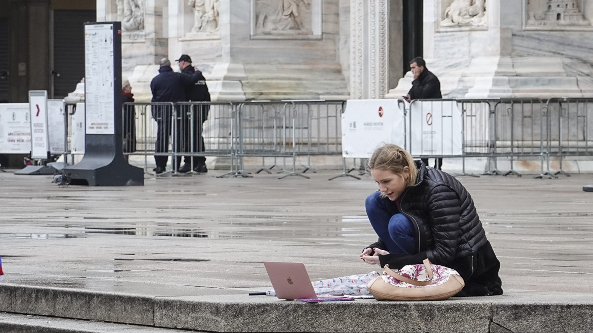 Zooming around: Working from home – or outside the Duomo in Milan – thanks to COVID-19 has seen Zoom's profits soar.  (Source: Guilhem Vellut on Flickr CC 2.0)