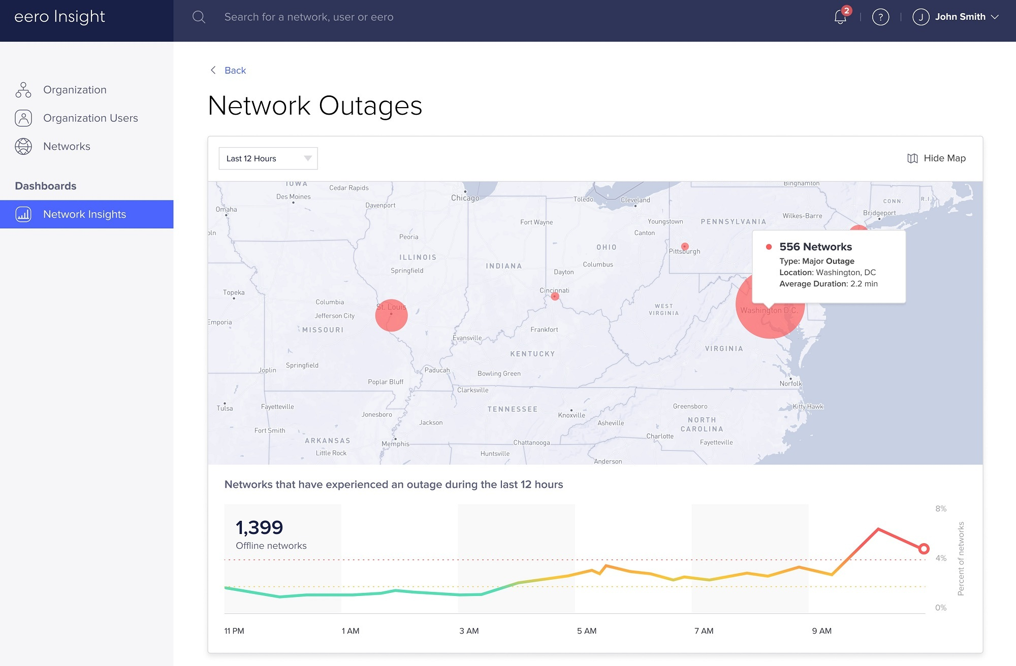 Eero says its 'Insights' system gives ISPs a fleet-level view of Wi-Fi performance, including dashboards and tools that keep tabs on outages and potential outages, bandwidth utilization audit logs.  
