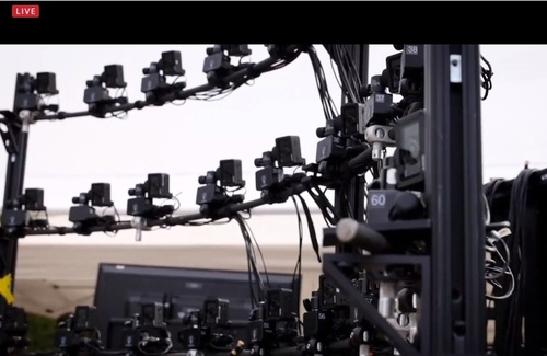 An array of cameras capture images for raw footage that would be assembled into the resulting 3D lightfield stream.   (Source: SCTE/ISBE)