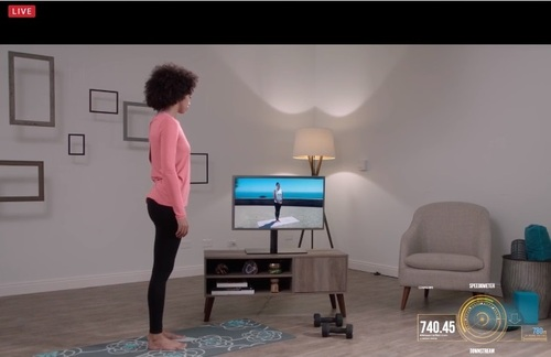 A display from a company called Looking Glass Factory outputs the 3D rendition of the light field – an interactive yoga class that can receive gesture commands from the user/viewer.   (Source: SCTE/ISBE)