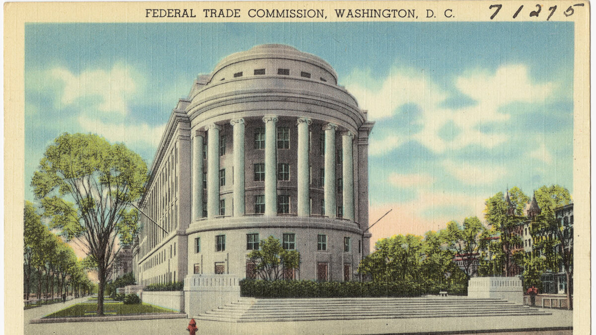 The big house: The fact the five Federal Trade Commissioners who will make the final decision on whether to file suit are Trump appointees is surely a coincidence. (Source: Boston Public Library on Flickr CC2.0)