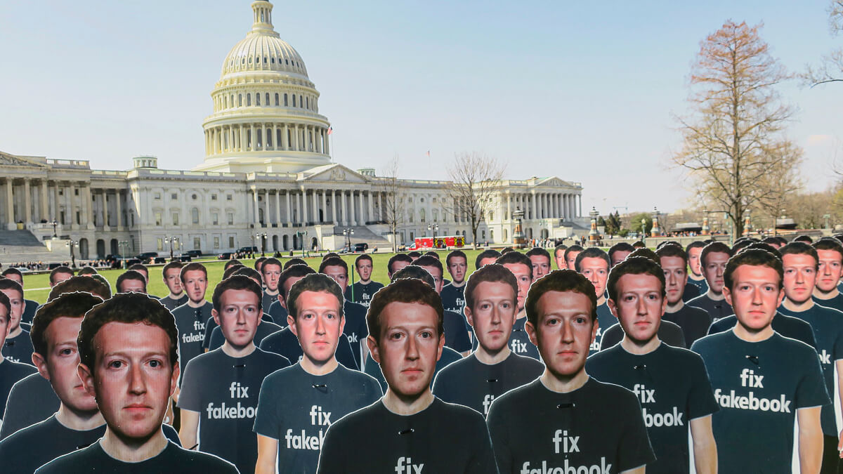 You've been zucked: Cutouts of Mark Zuckerberg protest in Washington DC ahead of his appearance before the US Senate. (Source: Joe Flood on Flickr CC2.0)