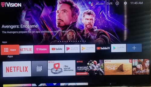 The home screen for the TVision Hub provides central access to multiple OTT apps and services but is optimized to showcase T-Mobile's new pay-TV service.