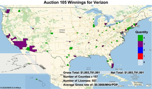 Verizon purchased spectrum in markets across the country. Click here for a larger version of this image. (Source: Stephen Wilkus of Spectrum Financial Partners)