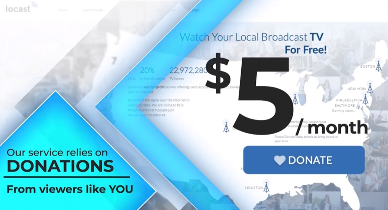 Locast's app seeks individual donations starting at $5 per month, on up to $100 per year. Some one-off donors have set the stage for Locast to launch in smaller US markets such as Sioux Falls, South Dakota.