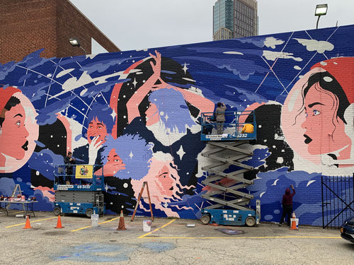 The first mural, 'A Cluster of Enigmas,' is currently in progress in Brooklyn. 