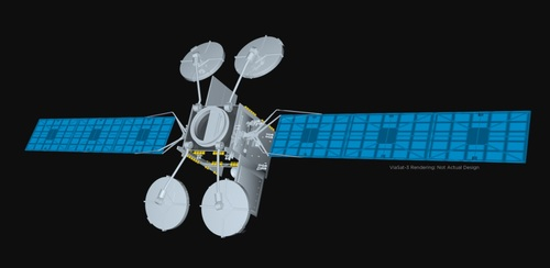 Viasat is moving to take control of a joint venture with Eutelsat as it plans the 2022 launch of a high-capacity ViaSat-3 satellite that will cover the EMEA region. Pictured is an artist rendering of a ViaSat-3 satellite – Viasat is also building ViaSat-3 satellites for coverage in the Americas and Asia-Pacific.  