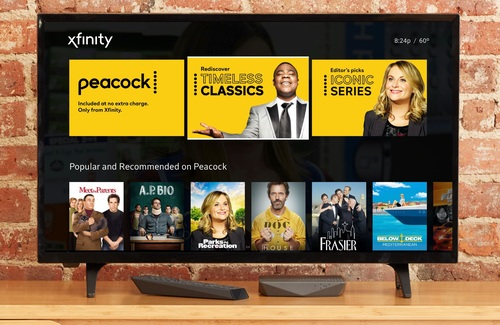 NBCU's Peacock streaming service debuted to Comcast X1 and Flex customers in mid-April and launched nationally on July 15.   (Image source: NBCU)