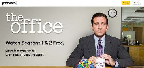 Peacock's website is already teasing its exclusive access to The Office that starts January 1, 2021.   (Source: NBCU/Peacock)