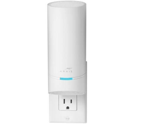 The SURFboard mAX Express is a tri-band Wi-Fi 6 wall-plug unit that is bundled with the SURFboard mAX.   (Source: CommScope)