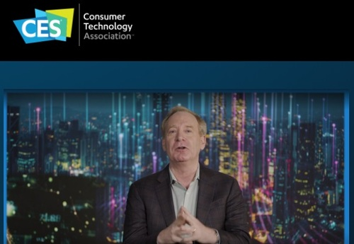 Microsoft's Brad Smith delivers his keynote during the all-virtual CES 2021 confab.