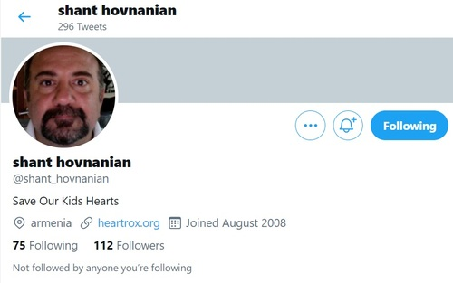 Shant Hovnanian has an unverified Twitter account that was activated in 2008. He hasn't tweeted anything since November 2012.  