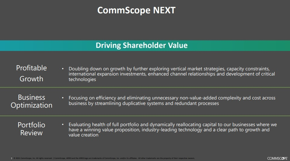CommScope launched its 'NEXT' initiative in January, though specific details about actions that will result from it won't be shared until later this year.   Click here for a larger version of this image.   (Source: CommScope)