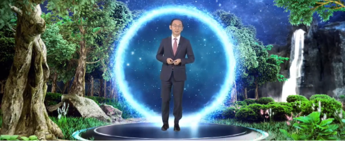 Huawei's Ryan Ding tries out some Doctor Strange-style teleportation.