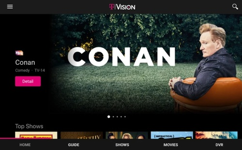 T-Mobile, which relaunched its TVision service late last year, is one of MobiTV's marquee customers. MobiTV, which has a deal with the National Cable Television Cooperative (NCTC), has also hooked up with dozens of small and midsized US cable operators and telcos.   (Image source: T-Mobile/Google Play)