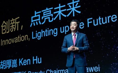 Huawei Deputy Chairman Ken Hu speaking at Mobile World Congress Shanghai 2021.