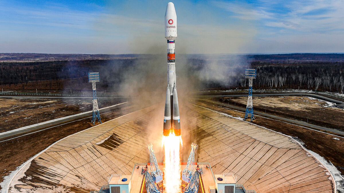 Take off: UK-based OneWeb is taking on the might of Elon Musk's SpaceX and Starlink.  (Source: Roscosmos, Space-Center-Vostochny and TsENKi)