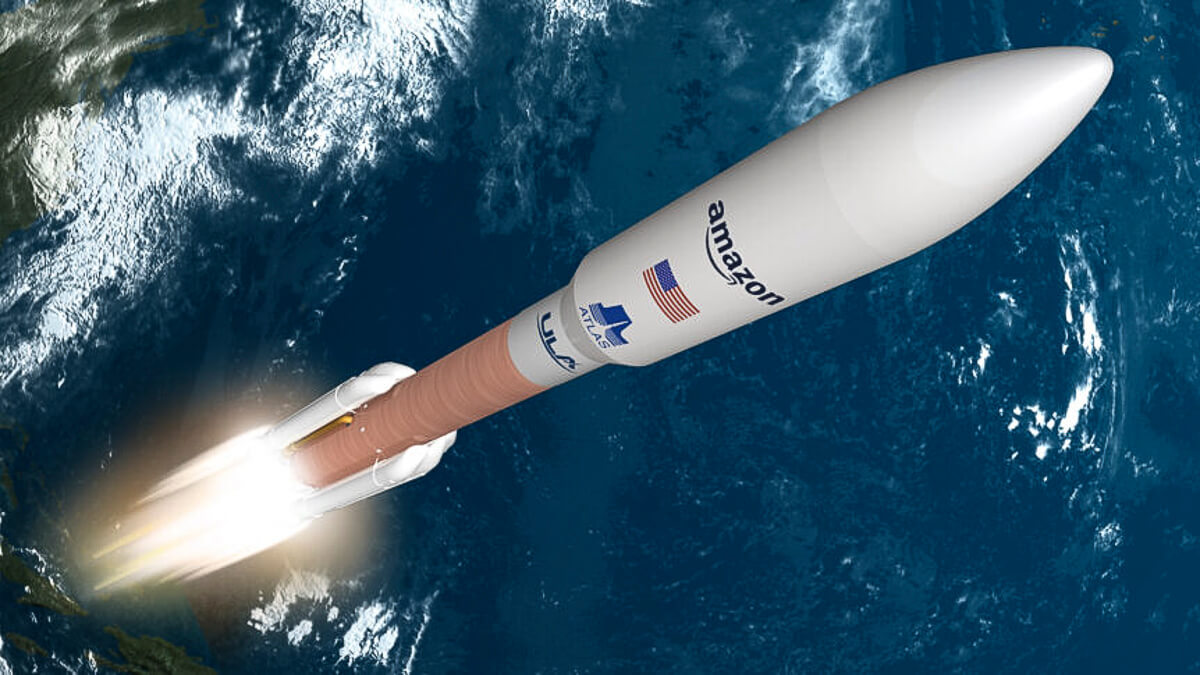 Blast off: The United Launch Alliance's Atlas V rocket will take Amazon's broadband into space.  (Source: Amazon)