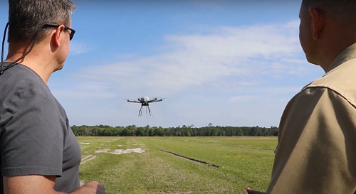 COMSovereign has developed a network-in-a-box solution and mounted it on a tethered drone to create localized telecom infrastructure. (Image source: COMSovereign).