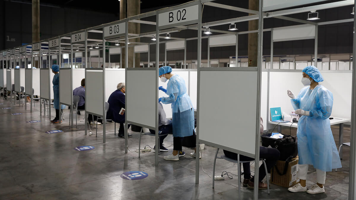 Testing times: Rigorous testing - and a hangar-sized center for carrying it out - has been enforced for all pandemic MWC attendees.  (Source: MWC Barcelona)