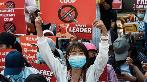 Protestors in Myanmar after the military coup.