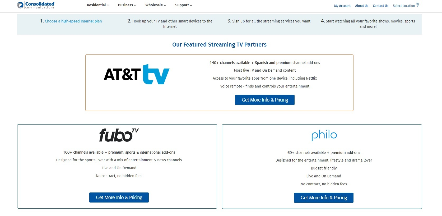 Consolidated currently promotes three streaming TV services after halting the sale of its own 'CCiTV' service earlier this year.   (Source: Consolidated Communications)