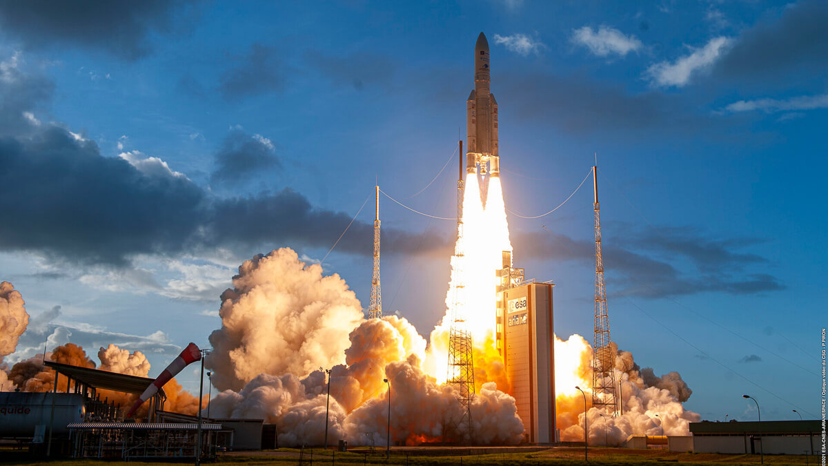 Lift off: The launch was the sixth successful mission of 2021 with two telecommunications satellites put into orbit for Embratel and Eutelsat. (Source: Arianespace)