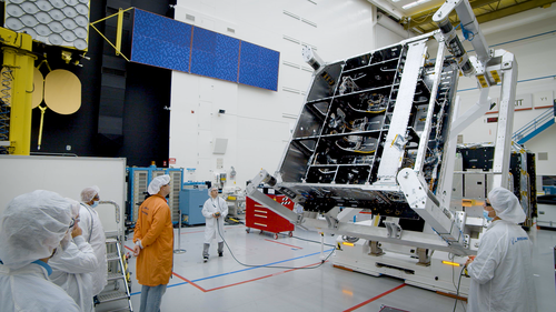 O3b mPOWER satellite hardware is inspected on the Boeing high-bay floor in El Segundo, California.   (Photo source: Boeing)