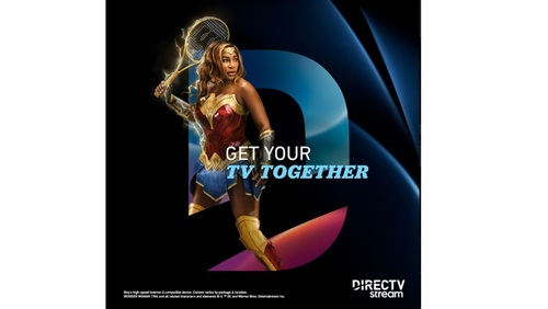 In DirecTV Stream's new campaign, Serena Williams transforms into a tennis champ/Wonder Woman combo that takes on tennis ball-tossing robots that are menacing mall shoppers.   (Source: DirecTV)
