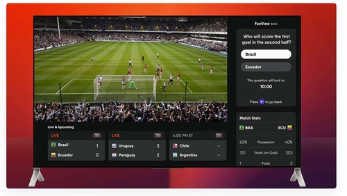 FuboTV's free, integrated game calls on viewers to answer questions during a live match, awarding points for correct answers.   (Source: FuboTV, via The Streamable)