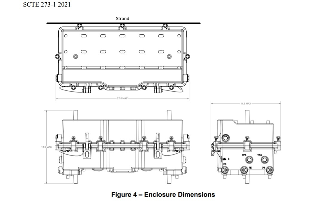 A schematic of the SCTE-specified dimensions for a GAP node.   (Source: SCTE)   Click here for a larger version of this image.