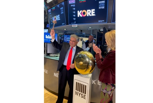 Kore President and CEO Romil Bahl rings the first trade bell as the company starts trading on the New York Stock Exchange on Friday, October 1.   (Image source: Jean Creech Avent for Kore Wireless)