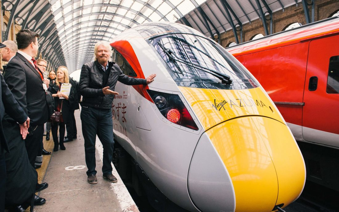 Richard Branson at the launch of Virgin Trains Azuma, a new high-speed train developed with Industrial IoT technology in partnership with Hitachi