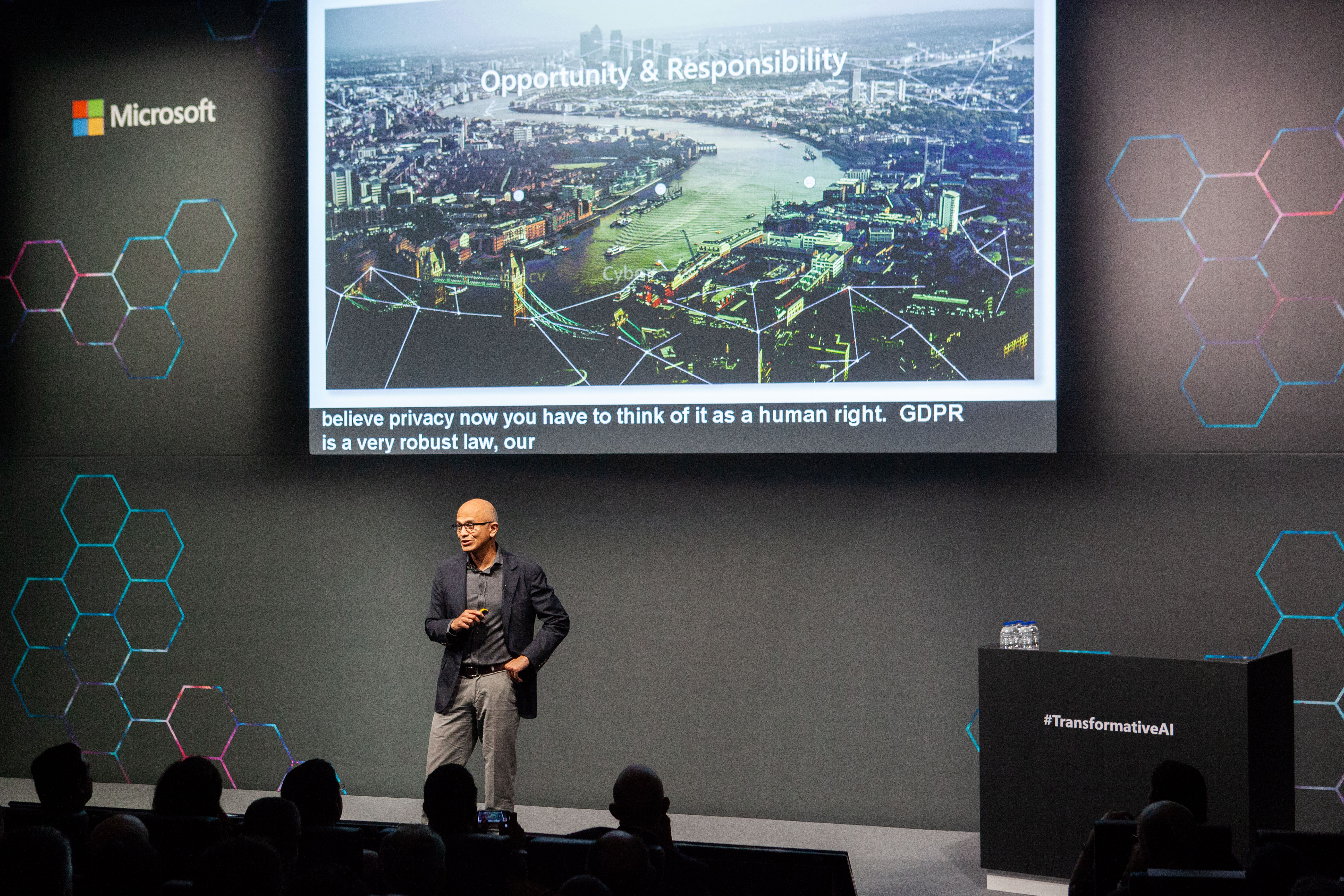 Satya Nadella, Microsoft CEO, speaking at Microsoft's Leading Transformation with AI in central London, 22nd May 2018