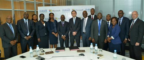Microsoft and Ecobank staff looking delighted at the MoU signing.