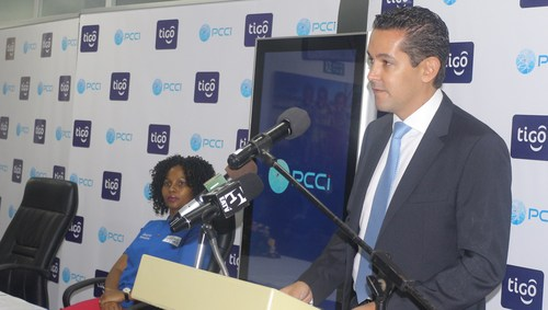 Tigo Tanzania's managing director Diego Gutierrez launches the new call center.