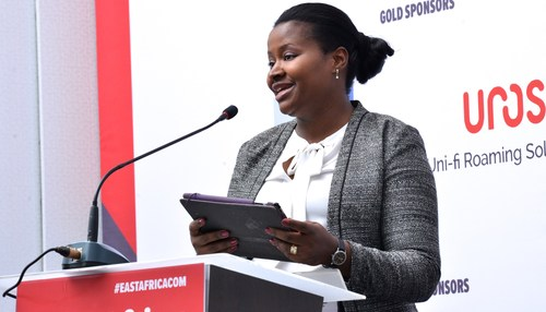 Safaricom's Head of ICT Regulation and Public Policy, Mercy Ndegwa, delivers her speech at East Africa Com.