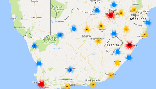 VAST Networks has WiFi access points operational in several urban centers across South Africa.