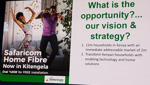 One of slides presented by Safaricom's Director of Products and Services for Consumer Business Unit, Franklin Kano Ocharo, at Huawei's recent Operations Transformation Forum.