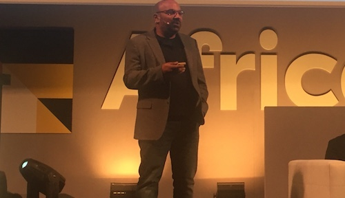 Kamal Bhattacharya, Safaricom's CIO, addresses an audience at today's AfricaCom event in Cape Town.