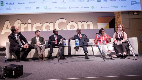 Karen Smit, Principal Specialist: Specific Needs at Vodacom (right), addresses fellow panellists and AfricaCom attendees during a panel debate.