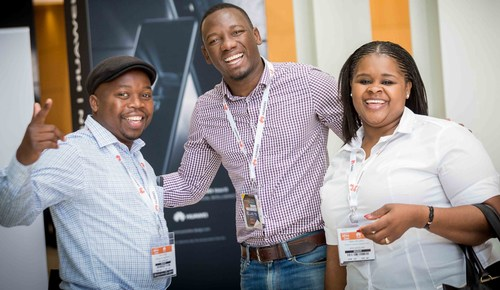 Very happy attendees arriving on the first day of AfricaCom 2017 in Cape Town in early November.