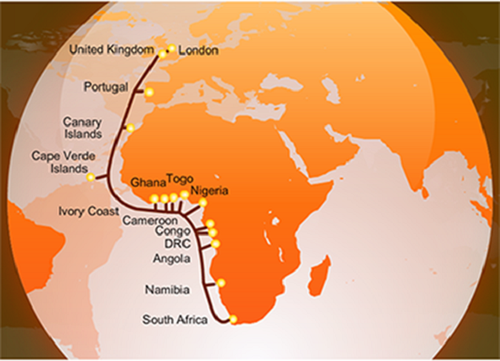 The WACS subsea network route.