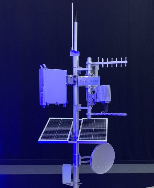 The RuralStar Lite unit basked in blue light during an unveiling at a media briefing in London.