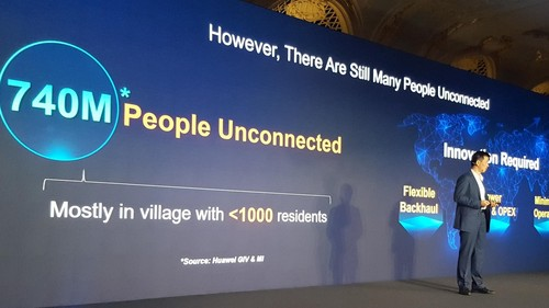 Huawei's Peng Song lays out the story behind RuralStar Lite at a London media briefing.