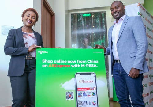 Sylvia Mulinge, Safaricom's Chief Customer Officer (left), helps to launch the new partnership with Alibaba.
